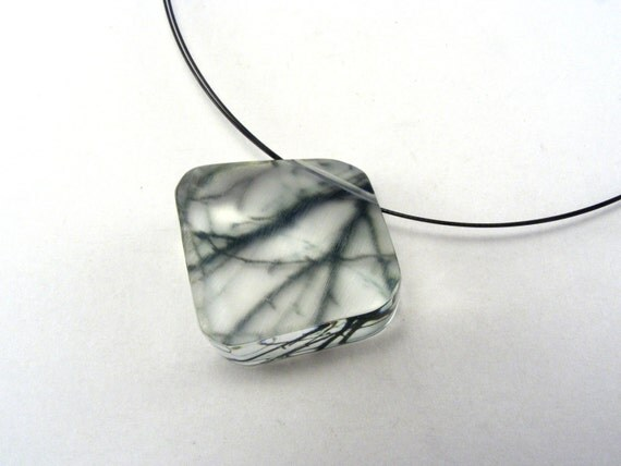 Acrylic Diamond shaped Necklace, Black Branches Pattern, Whimsy Handmade Pendant
