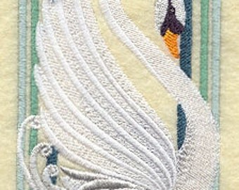 Art Deco Swan Embroidered Terry Kitchen Towel Bathroom Hand Towel