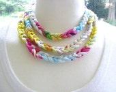 Crochet Necklace, Layered Woven Necklace, Tie Dye T-Shirt Yarn Necklace, Colorful Crochet Necklace, Boho Braided Necklace, Crochet Choker