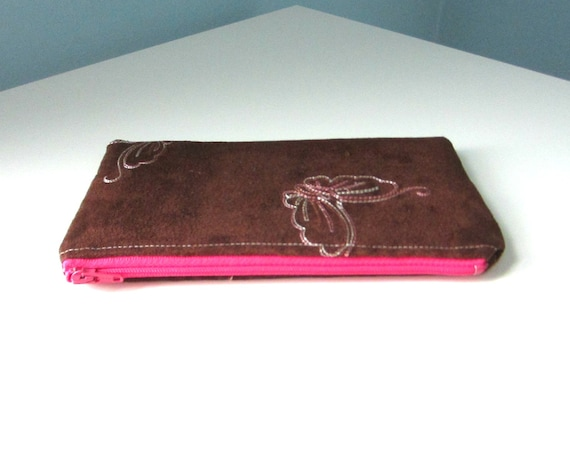 Zipper Pouch, On Sale, Vegan Suede with Embroidered Butterflies