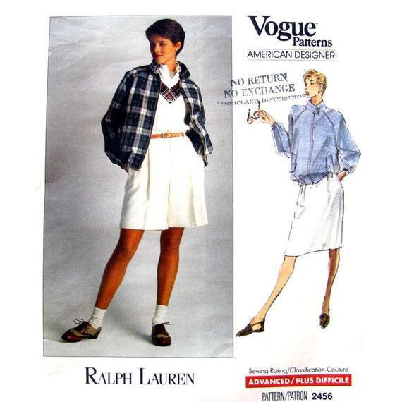 Raglan Bomber Jacket, Walking Shorts Skirt Pattern Vogue 2456 Ralph Lauren Size 8 10 12