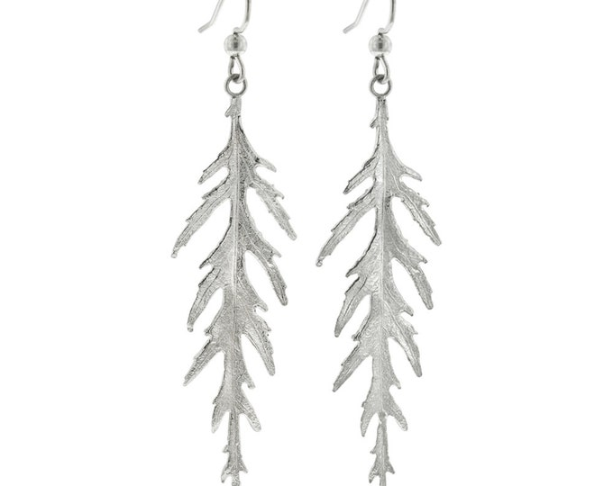 Sterling Silver Leaf Earrings- Long Japanese Maple Leaves