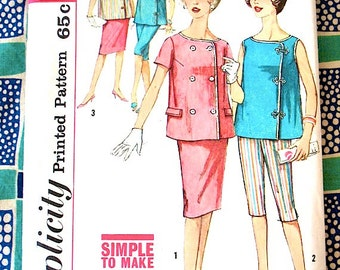 Vintage Simplicity Maternity Top Blouse Skirt Pedal Pushers Sewing Pattern 3967 from the 1950s or early 60s Bust 31.5 inches