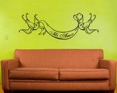 swallow tattoo wall decal, vinyl art with custom banner, nursery wall decal, sticker art