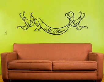 swallow tattoo vinyl wall decal, wall decor custom banner, nursery wall decal, sticker art, FREE SHIPPING