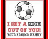 Valentine Soccer Sticker, Tag - Set of 24
