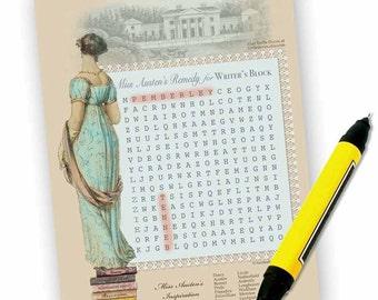 Download - Jane Austen Wordsearch Puzzle - Jane Austen Tea Game, Shower Game - Book Group Game - PDF or JPG