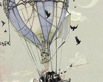 Steampunk Art Print -  Hot Air Balloon  - Nautical giclée Art PRINT -  grey blue pale green black dusty - Fairy Tale Art Childrens
