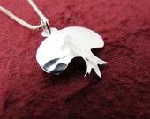 Silver Pomegranate Necklace - Delicate Sterling Silver Pomegranate Pendant and Chain