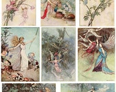 Fairies Digital Collage Sheet Victorian Illustrations by Warwick Goble, Instant  Download Fairy Tale Printables