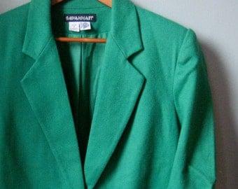 VIntage Green Blazer, Kelly Green Suit Jacket, Savannah, One Button Wool Blazer, Long Sleeve Vintage Blazer, Size 8, 100% Wool