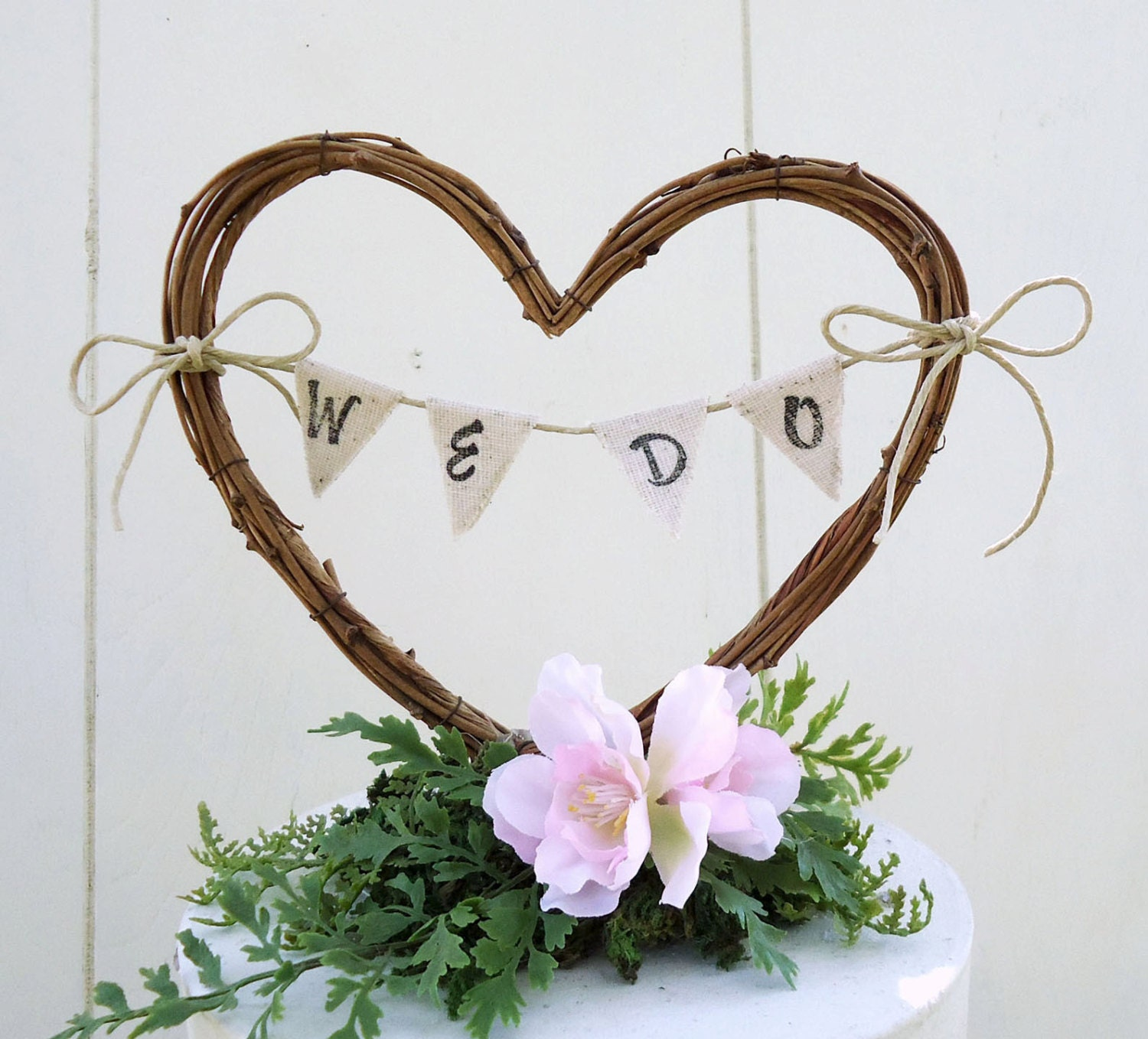 Rustic Wedding Cake Topper Heart with Banner by