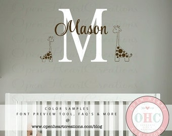 Boy or Girl Monogram Wall Decal with Initial and Name and Set of 2 Giraffes - Baby Nursery or Playroom Wall Decal 22H x 36W INA0060