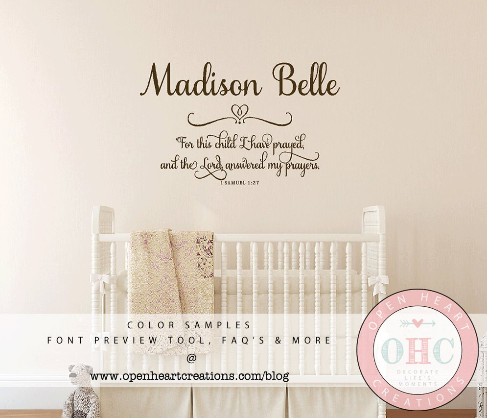 For this child i prayed wall decal with baby name 1 samuel 1 zoom amipublicfo Choice Image