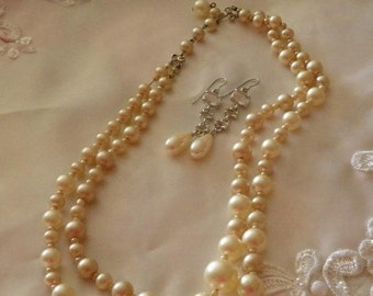 Vintage MARVELLA   Graduated Double Strand Pearl Necklace . Pearl and Rhinestone Earrings. Bridal JN58