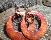 HEAVY Hammered Copper Earrings with Sterling Silver Earwires