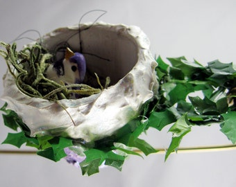 Bird Nesting in a Flower Pot Christmas Ornament 501