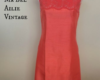 beautiful 1960s lace & silk long red evening gown