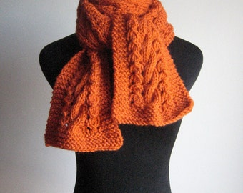 Hand Knit Scarf, Pumpkin Orange Cable and Lace Vegan Scarf, The Stef Scarf, Winter Scarf, Womens Accessories