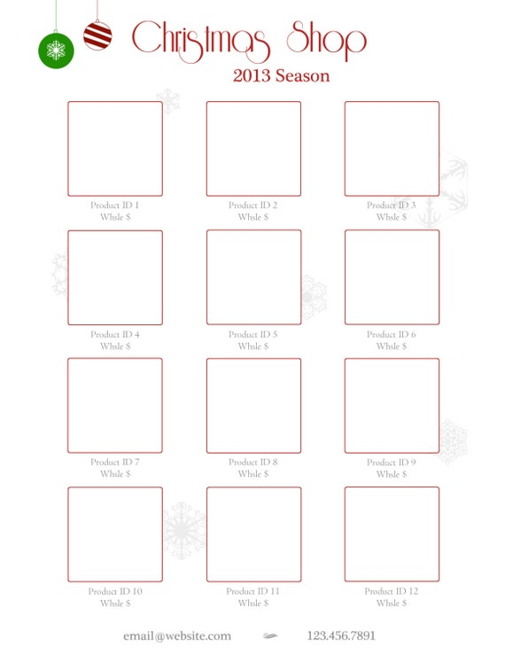 instant download holiday line sheet or wholesale catalog