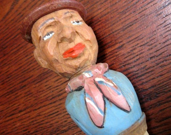 Vintage Wood Bottle Stopper Hand Carved German Man Cork