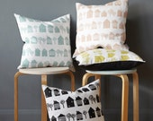 NEW Smalltown cushion on white linen