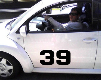 Sport Race Car Numbers Vinyl Racing Car Decal Door Sticker. Set of 2 Numbers