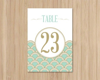 Instant Download - Art Deco Wedding - Table Numbers - Mint and Gold Scallops - Gatsby Wedding