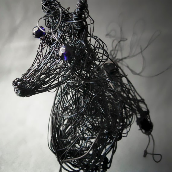 Black horse stallion wire sculpture 3d animal art for 3d wire art