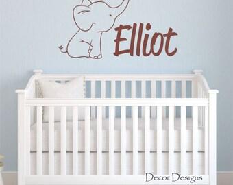 Cute Elephant Custom Name Vinyl Wall Decal Sticker
