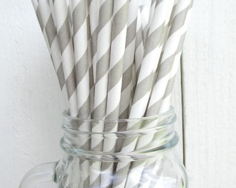 25 Gray and White Striped Paper Straws