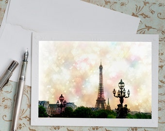 Paris Photo Notecard - Valentines Day, Valentine Card, Eiffel Tower with Hearts, French Travel Note Card, Stationery