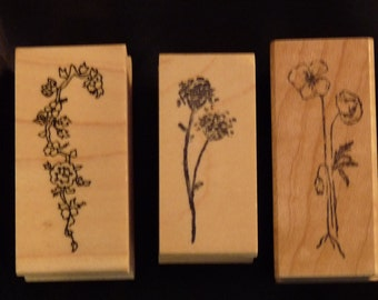 Flower Trio - Great WM Rubber Stamps Lot of 3 - Cards - Crafts - ATC - Domino Art - Scrapbooks - FREE Shipping