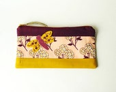 Zipper Pouch, Makeup Bag, or Pencil Case - Tokens of Love in Pink with Handmade Felt Dragonfly Embellishment