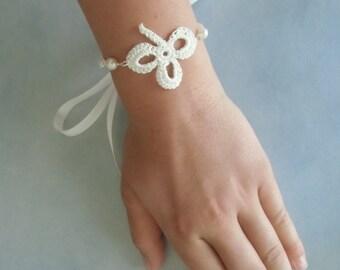 Shamrock crochet bracelet.