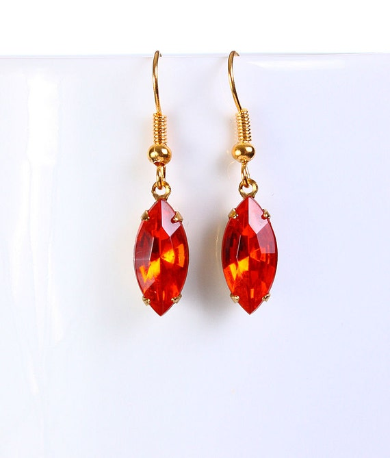 Estate style hollywood orange glass dangle earrings READY to ship (769) - Flat rate shipping