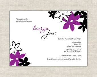 Purple Bridal Shower Invitation Day Dream in Plum & Black Bold Stylish Modern Chic Trendy
