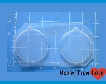 SALE 2 Round Pendant Blanks Plastic Handmade Resin Mold