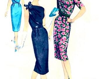 UNCUT Vintage 1950's VOGUE Paris Original Pattern 1465 by Patou - FF - Dress with Asymmetrical Front Draping & Bow - with Label