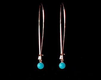 Delicate Rose Gold earrings with Turquoise, Long Earrings, Turquoise earrings, Modern jewelry, Dangly earrings, Under 25 jewelry