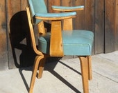 RESERVED FOR M  Vintage Mid Century Modern Thonet Upholstered Armchair in Dark Teal Blue Rare Find