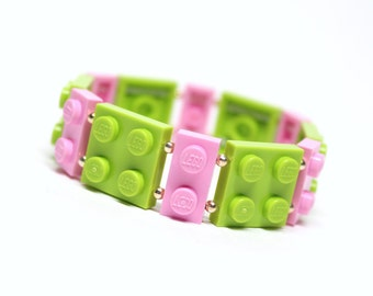Geek Bracelet in Lime and Pink - made from New LEGO® Pieces