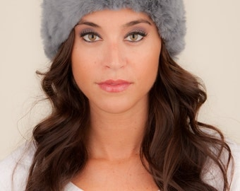 Knit Headband with Fur in Grey