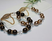 Pearl Bracelet Chocolate or Champagne Bronze Swarovski Clear Bicone Crystals Crystalized Magnetic Barrel Clasp For Her