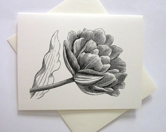 Tulip Flower Cards Set of 10 in White or Light Ivory with Matching Envelopes