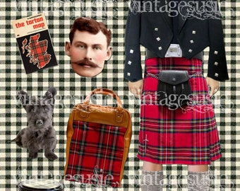 MAD ABOUT PLAID Series Art Paperdoll Collage Sheet 'Handsome Lass' Digital Download Scottish Isle