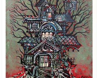 Garden Mansion, Tree House Series Art Print 10x10