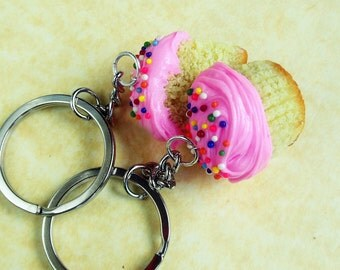 polymer clay cupcake best friend bff friendship key chains