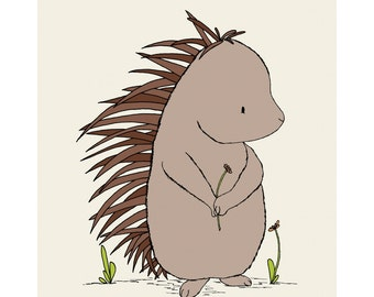 Woodland Nursery Art -- Porcupine Art -- Woodland Animal Art, Children Art Print, Kids Wall Art, Porcupine Picture
