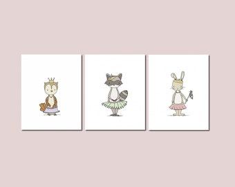 Girl Nursery Art -- Woodland Animal Princess Art -- Set of 3 Prints -- Animal Princess Collection -- Owl Bunny Raccoon -- Kids Wall Art